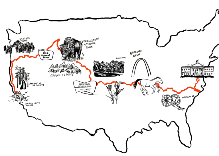 Illustrated map of the United States, depicting the route of the journey from San Francisco, California to Washington, DC